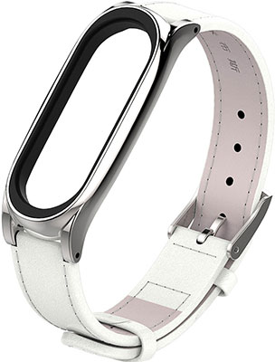 Ремешок кожаный для фитнес трекера Xiaomi Mi Band 5 белый