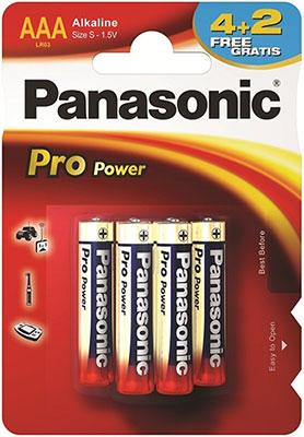 Батарейки Panasonic щелочные AAA Pro Power promo pack в блистере 6 шт. (LR03XEG/6B2F)