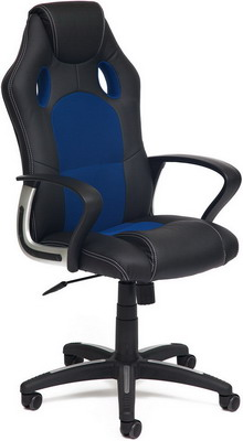 Кресло Tetchair RACER NEW (кож/зам ткань черный/синий 36-6/10) офисное кресло tetchair racer кож зам ткань черный серый 36 6 12