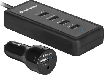Автомобильное зарядное устройство Defender ACA-02 5 портов USB 83568 автомобильное зарядное устройсто usb ibang skypower 1008 для тел и планшетов 2 usb выхода 5 в 2100 ма макс 1600 ма 500 ма оранж бел сирен