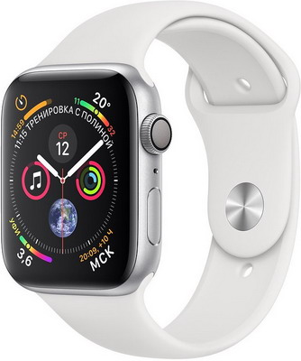 Часы Apple Watch Series 4 GPS 44 mm Silver Aluminium Case with White Sport Band (MU6A2RU/A)