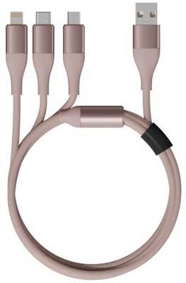 Фото - Кабель Coocazoo 3 in 1 USB Lightning/Micro/Type-C 120 см 5V 2 4А нейлоновая ткань D3 8мм Защитный ЧИП (D кабель coocazoo type c type c 100 см 20w pd 3а нейлоновая ткань d3 8мм защитный чип dw3 green техпак