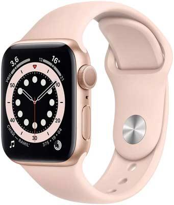Умные часы Apple Watch Series 6 44mm (M00E3RU/A) Gold Aluminium Case with Pink Sand Sport Band умные часы apple watch series 6 gps 44mm aluminum case with sport band white серебристый белый