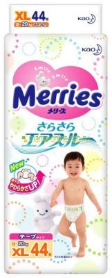 Подгузники Merries Air Through 12-20кг XL 44шт подгузники merries s 4 8кг 82шт 4901301230812