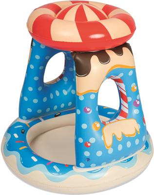 Детский надувной бассейн BestWay с навесом Конфетка 91х91х89 26 л от 2 лет 52270 BW детский бассейн с навесом от солнца bestway 52189