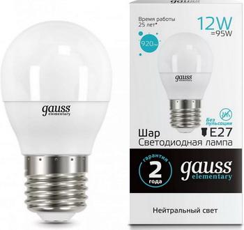 Лампа GAUSS, LED Elementary Шар 12 W E 27 4100 K 53222, Китай  - купить со скидкой