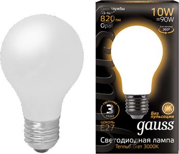 Лампа GAUSS LED Filament A 60 OPAL E 27 10 W 820 lm 2700К 1/10/40 102202110