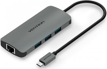 Сетевой адаптер Vention USB Type C M/ Gigabit Ethernet RJ 45 F OTG хаб USB 3.0 на 3 порта CHFHA