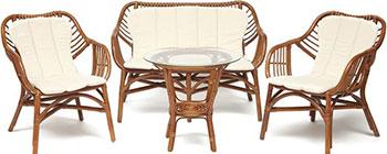 Комплект для отдыха Tetchair SONOMA (стол круглый (со стеклом) 2 кресла диван) 12720