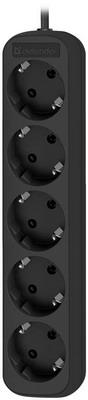 Удлинитель с заземлением Defender M518 1.8 м  5 розеток  черный