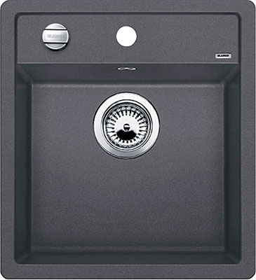 Кухонная мойка BLANCO DALAGO 45 SILGRANIT темная скала с клапаном-автоматом мойка blanco dalago 45 silgranit puradur 518846 тёмная скала размер шхд 46 5см х 51см