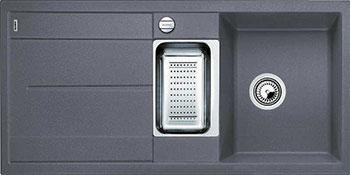 Кухонная мойка BLANCO METRA 6 S-F темная скала с клапаном-автоматом кухонная мойка blanco metra 6 s f белый с клапаном автоматом