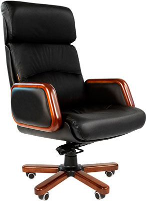Офисное кресло Chairman 417 кожа черная