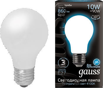 Лампа GAUSS LED Filament A 60 OPAL E 27 10 W 860 lm 4100К 1/10/40 102202210 gauss black filament led a60 opal e27 10w 4100к 102202210