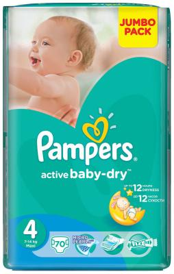 Подгузники Pampers Active Baby-Dry 4 (7-14 кг) 70 шт цена 2017