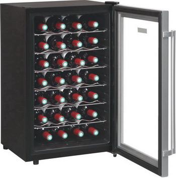 Винный шкаф LaSommeliere VN 28 C чёрный с серебристой рамкой цены