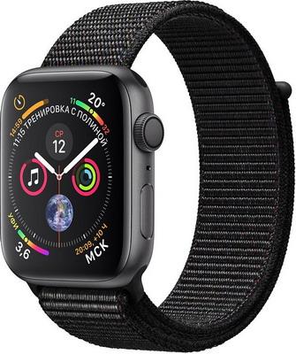 Часы Apple Watch Series 4 GPS 44 mm Space Grey Aluminium Case with Black Sport Loop (MU6E2RU/A) цена и фото