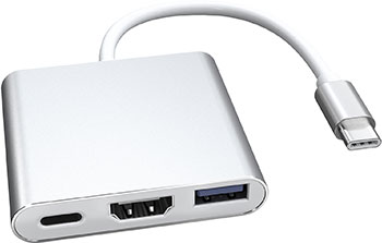 цена на Адаптер Red Line Multiport adapter Type-C 3 in 1 для ноутбука металл серебристый