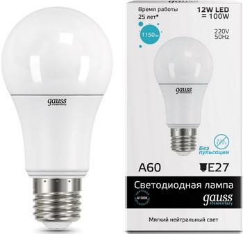 Лампа GAUSS LED Elementary A 60 12 W E 27 4100 K 23222