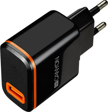 Сетевое зарядное устройство Canyon CNE-CHA 042 BO Черный телефонная розетка abb bjb basic 55 шато 1 разъем цвет черный