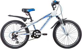 Велосипед Novatrack 20'' LUMEN белый алюм. 6-скор TY21/TS38/SG-6SI V-brake