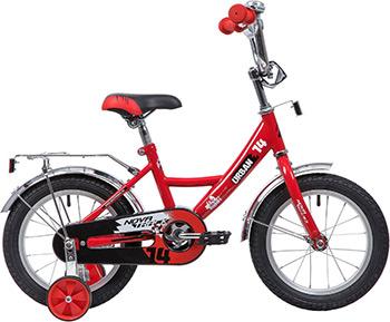 Велосипед Novatrack 14'' URBAN красный полная защита цепи тормоз нож. крылья и багажник хром