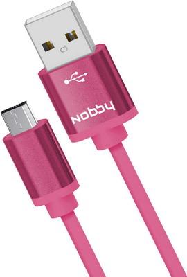 USB кабель Nobby Practic microUSB 1 м 2А DT-005 розовый 0204NB-005-001