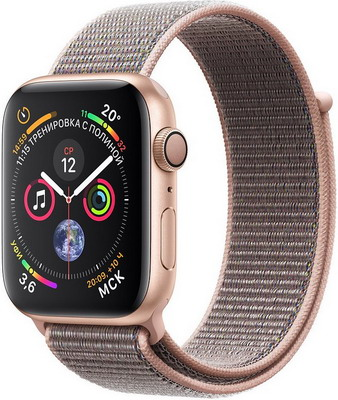 Часы Apple Watch Series 4 GPS 44 mm Gold Aluminium Case with Pink Sand Sport Loop (MU6G2RU/A) умные часы apple watch series 3 38mm gold with pink sand sport band mqkw2ru a