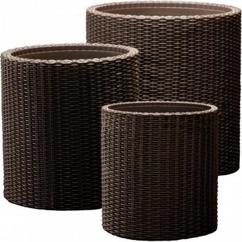 Комплект кашпо Keter S M L CYLINDER PLANTERS коричневый