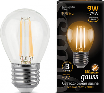 Лампа GAUSS LED Filament Шар E 27 9W 680 lm 2700 K 1/10/50 105802109