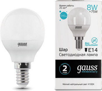 Лампа GAUSS LED Elementary Шар 8W E14 540lm 4100K 53128 Упаковка 10шт лампа gauss led elementary свеча на ветру 8w e14 540lm 4100k 34128 упаковка 10шт