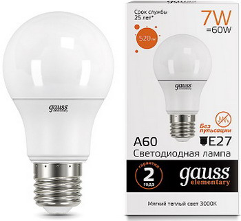 Лампа GAUSS LED Elementary A60 7W E27 520lm 2700K акция 23217A Упаковка 10шт эра f led a60 e27 7w 220v 2700k