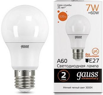 Лампа GAUSS LED Elementary A60 7W E27 520lm 2700K акция 23217A Упаковка 10шт
