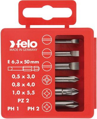 Набор бит шлицевых плоских Felo PZ2 и PH1-2 50 мм в упаковке 6 шт 03092516 набор шлицевых отвёрток для точных работ felo 24596106