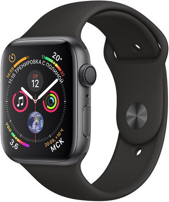 Часы Apple Watch Series 4 GPS 44 mm Space Grey Aluminium Case with Black Sport Band (MU6D2RU/A) цена и фото
