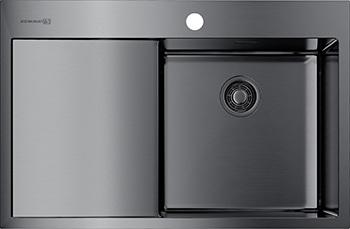 Кухонная мойка Omoikiri AKISAME 78-GM-R нерж.сталь/вороненая сталь (4973100) кухонная мойка omoikiri akisame 78 gm r нерж сталь вороненая сталь 4973100