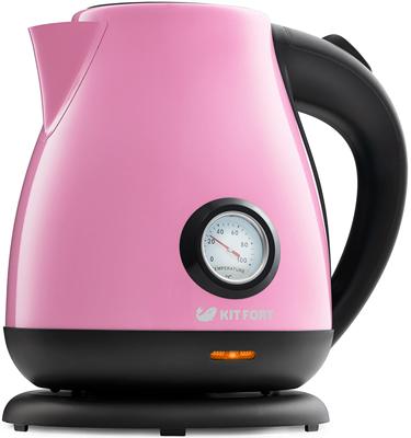 Чайник электрический Kitfort КТ-642-1 розовый соковыжималка kitfort кт 1102 1 шнековая оранжевый