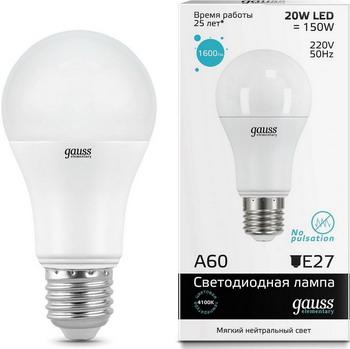 Лампа GAUSS LED Elementary A 60 20 W E 27 4100 K 23229