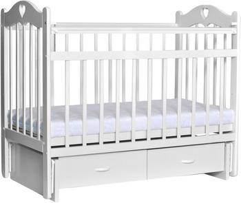 Детская кроватка Everflo Love c ящиком и маятником milk ES-002 ПП100004296