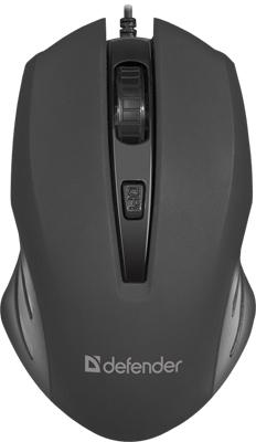 Проводная оптическая мышь Defender Datum MM-351 черный 4 кнопки 800-1600 dpi (52351)