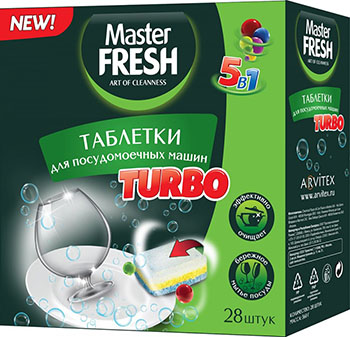 Таблетки Master FRESH TURBO/5в1/ 28 шт. ТРЕХСЛОЙНЫЕ С0006268 фото