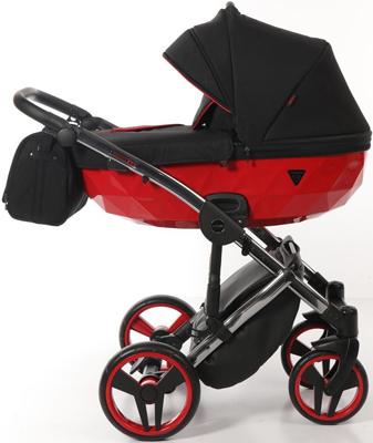 коляски 2 в 1 Коляска детская 2 в 1 Junama DIAMOND SPECIAL JDS-01 (черный/красный короб/рама серебро)