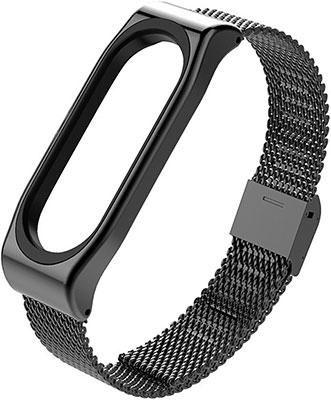 Ремешок металлическая сетка MILAN для фитнес трекера Xiaomi Mi Band 5 черный