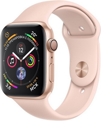 Часы Apple Watch Series 4 GPS 44 mm Gold Aluminium Case with Pink Sand Sport Band (MU6F2RU/A) умные часы apple watch series 3 38mm gold with pink sand sport band mqkw2ru a