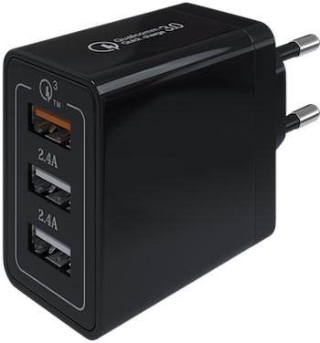 Сетевое зарядное устройство Red Line Line Tech USB QC 3.0 (модель NQC1-3A) черный сетевое зарядное устройство prime line 1a с кабелем micro usb черный