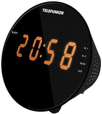 Радиочасы Telefunken TF-1572 (черный с янтарным) цена и фото