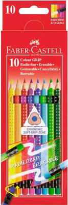 Карандаши Faber-Castell GRIP 10 цветов с ластиками faber castell карандаши акварельные 12цв 6гр l 175мм d 7мм 114413