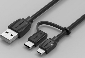 Кабель Vention CABBF USB TypeC+microB 1м кабель рулетка interstep microusb typec usb 2 0 65575 черный 1 м