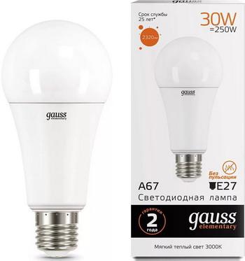 Лампа GAUSS LED Elementary A 67 30 W E 27 3000 K 73219