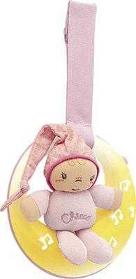 Подвеска для кроватки музыкальная Chicco Спокойной ночи луна розовая фото